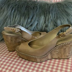 Stuart Weitzman Shoes - Stuart Weizmann nude patent leather wedges sz 7.5